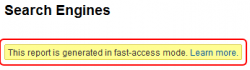 Google Analytics Fast Access Mode